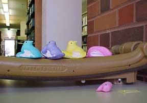 photo of Peeps having paper cutter accident